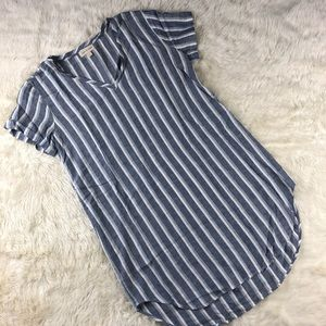 Cloth & stone striped rayon/linen dress